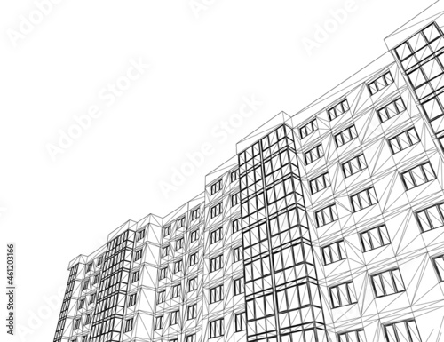 Wireframe of a nine-storey house from black lines, isolated on a white background Fototapet