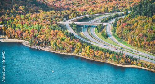 Foto Echo Lake from Cannon Mountain, New Hampshire in autumn