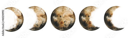 Fotografie, Obraz Watercolor hand drawn moon stone satellite eclipse set of Earth