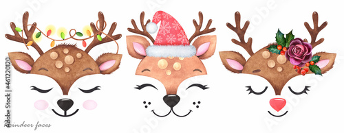 Fotografiet Cute reindeer face with Christmas decor on a white background