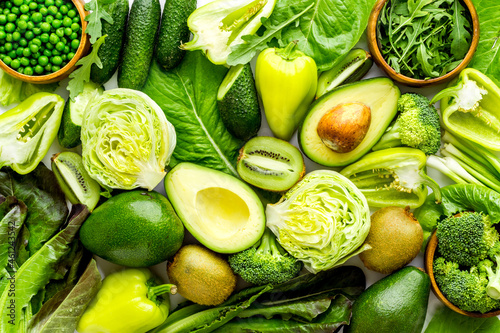 Green vegetables flat lay. Vegetarian food background