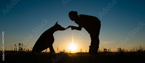 Leinwand Poster ドーベルマンと飼い主のシルエット
