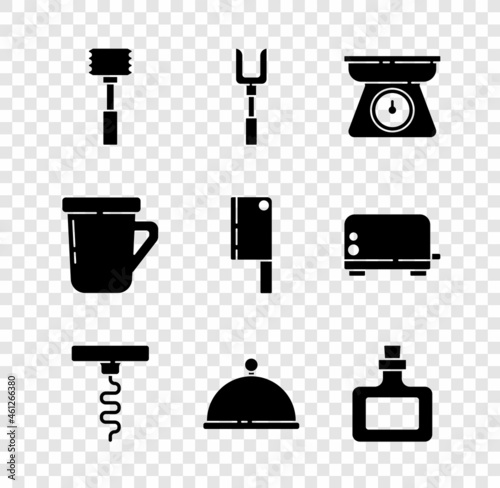 Set Kitchen hammer, Barbecue fork, Scales, Wine corkscrew, Covered with tray, Sauce bottle, Coffee cup and Meat chopper icon Fototapet