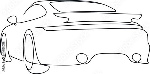 фотография Car vector one line art. Line drawing car illstration