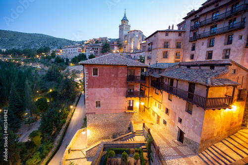 Fototapeta Albarracin Teruel Aragon Spain on July 2021: the village is surrounded by stony hills and the town was declared a Monumento Nacional in 1961