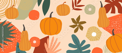 Photo Autumn inspired poster with pumpkins and leaves vector illustration