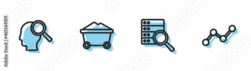 Fotografie, Obraz Set line Server, Search people, Coal mine trolley and Graph chart infographic icon
