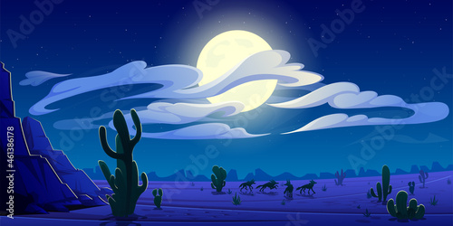 Arizona night desert landscape, natural wild west background with coyote pack si Fototapet