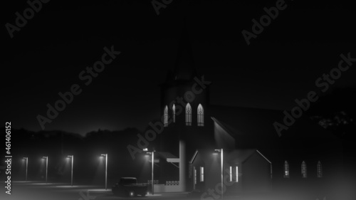 Foto old church in a  huge empty street of a small town