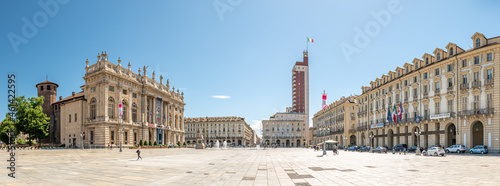 Turin, Italy. May 12, 2021. Panoramic view of Piazza Castello with Palazzo Madama on the left, Littoria Tower far in the middle, and the building seat of the Regional Government on the right.
