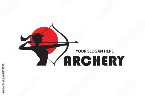 Photo emblem of archering girl with bow and arrow isolated on white background