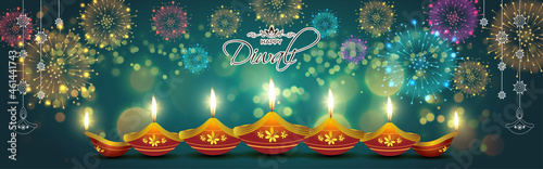 Canvas Print Vector greeting of Happy Diwali, Dipawali, Indian festival of lights, danglers, diya, oil lamp and lotus on beautiful pattern, holiday wishes poster