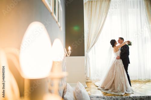 Billede på lærred Romantic wedding moment, couple of newlyweds smiling portrait, bride and groom h