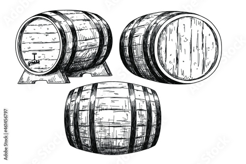 Murais de parede Sketch wine barrels isolated on white background