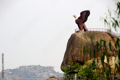 Canvas Print Sculpture of Jatayu (Eagle of Ramayana) with wings spread on a huge rock at Lepa