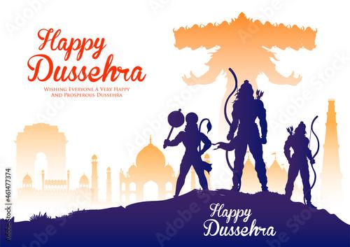 Fotografie, Obraz Lord Rama and Ravana in Dussehra Navratri festival of India poster