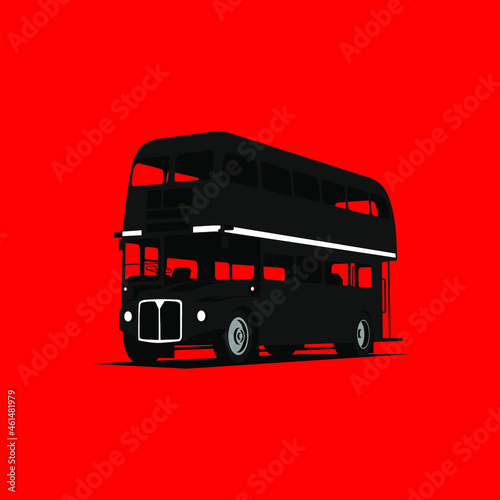 Tableau sur Toile vintage double decker bus icon vector on red background