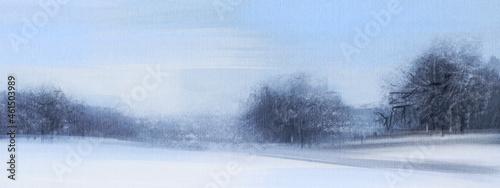 Winter landscape. Rural scene.