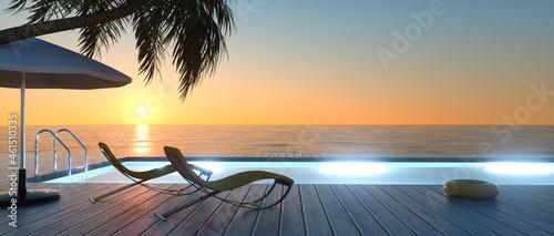 Obraz na plátně Sonnenterrasse mit Sonnenliegen am Abend
