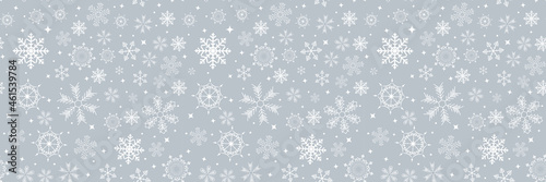 Fototapeta Abstract Winter Design Seamless Border with Snowflakes for Christmas and New Year Poster