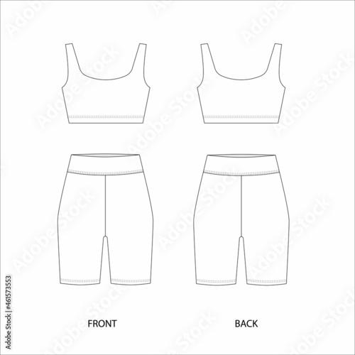 Cycling shorts and top design template Fotobehang