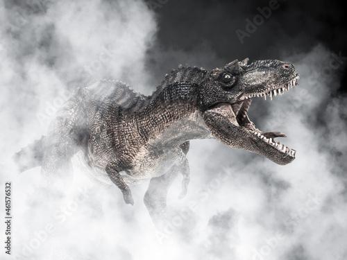 Fotografering Gorgosaurus Dinosaur on smoke background