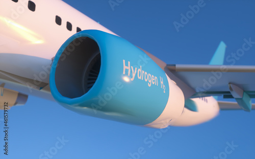 Blue Hydrogen filling H2 Airplane flying  in the sky - H2 energy concept Fototapet