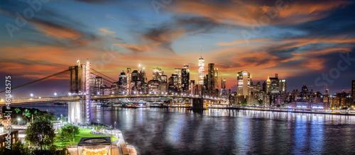 Fotografie, Obraz Manhattan Brooklyn Bridge
