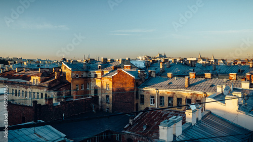 Valokuva Aerial view of old urban houses at sunrise