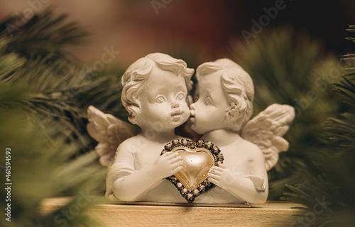 Obraz na plátně angel with christmas tree