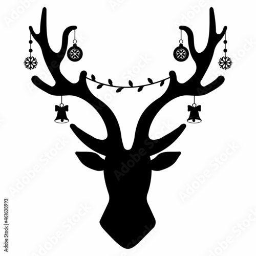 Canvastavla Christmas deer antlers with garland and gifts, black stencil, isolated vector il