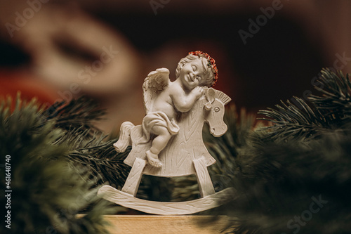 angel with christmas tree. Christmas toy. Fotobehang