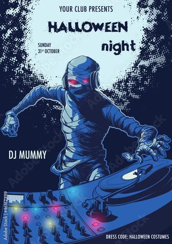 Fotografiet Egyptian Pharaoh Mummy mixing music on a DJ Mixer