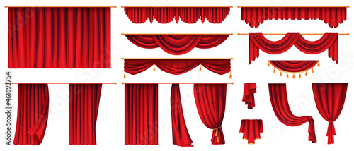 Vector 3d realistic set of red luxury curtains, open and closed