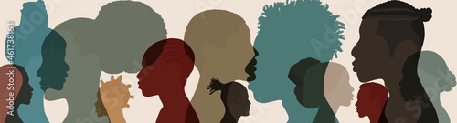 Fotografie, Obraz Silhouette face head in profile ethnic group of black African and African American men and women