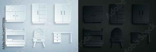 Obraz na plátně Set Dressing table, Wardrobe, Bunk bed, Office desk, and icon