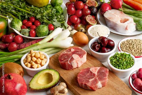 Fotografie, Obraz Flexitarian diet food composition background Whole foods diet feast Photo