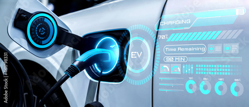 Fotografía EV charging station for electric car in concept of alternative green energy produced from sustainable resources to supply to charger station in order to reduce CO2 emission