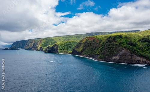 Canvastavla Vue d'avion des falaises de Big Island et sa plage de sable noir, Hawaii