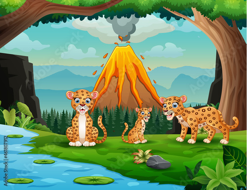 Photo Volcano erupting with leopard family by the river