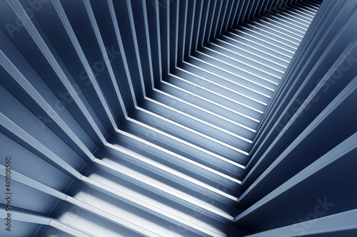 Fotografia 3D illustration dark ascending staircase goes  down