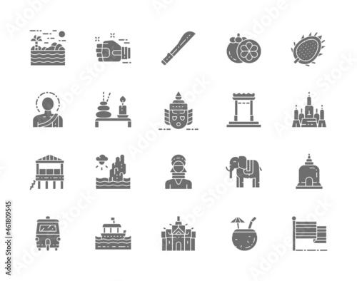 Set of Thailand Culture Grey Icons Fototapet