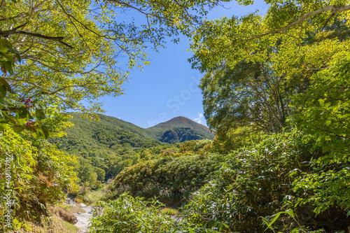 Canvas Print 登山道の途中から見える、福島県の磐梯山と青空