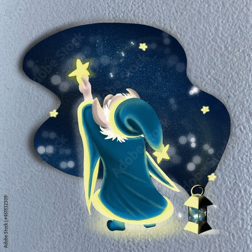 Tela cute dwarf stargazer with a magic lantern launches stars into the night sky
