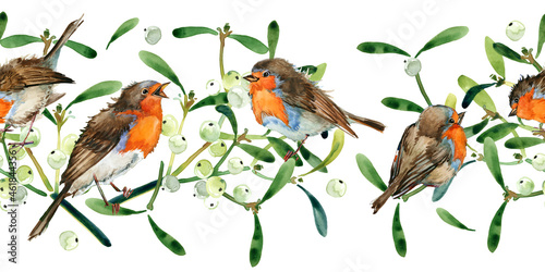 Tela Watercolor seamless greeting pattern with cute Robin birds and mistletoe berry