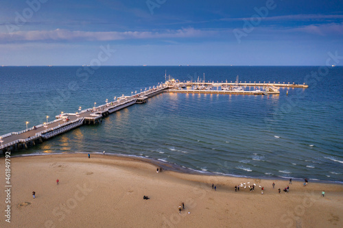 Molo pier on the Baltic Sea in Sopot at sunset, Poland. Fotobehang