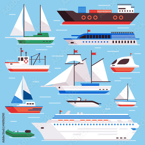 Obraz na plátně Flat sea ships