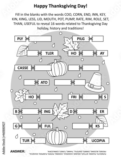 Fotografia Word game: Fill in the blanks with the words provided to make 16 words related to Thanksgiving Day holiday, history, traditions