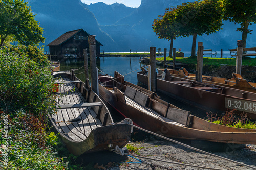 Wallpaper Mural View of the prow of a Plätte, a traditional wooden flat boat, moored at the beautiful Traunsee, Austria, Gmunden, 01