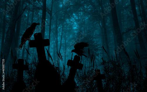 Murais de parede Panoramic cemetery with a raven on a cross